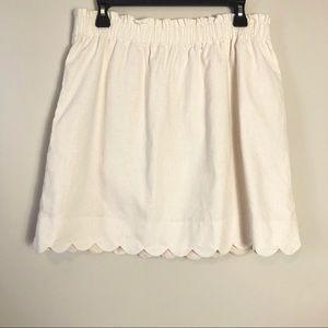 J. Crew Cream Scalloped Paperbag Skirt